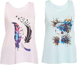 VIMAL Graphic Printed Pink and Green Tank Tops for Women(Pack of 2)