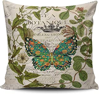 ONGING Decorative Throw Pillow Case Green Bohemian Scripts French Botanical Butterfly Pillowcase Cushion Cover Double Sided Design Printed Square Size 16 x 16 Inch