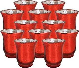 Just Artifacts Mercury Glass Hurricane Votive Candle Holder 3.5-Inch (12pcs, Speckled Red) - Mercury Glass Votive Tealight Candle Holders for Weddings, Parties and Home Décor
