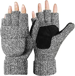 Knitted Glove Warm Wool Sentry Mitten Winter Convertible Glove with Mitten Cover