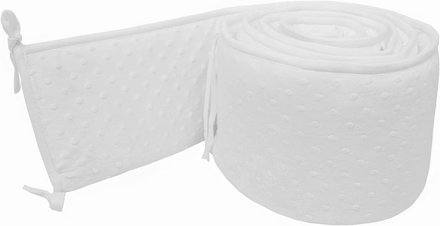 American Baby Company Heavenly Soft Minky Dot Crib Bumper, White Puff, for Boys and Girls