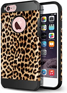 iPhone 6s Case, iPhone 6 Case, LOEV Slim Fit Shockproof Dual Layer Hybrid Protective Case, Tough Hard PC Armor & Soft Rubber Bumper Cover with Air Cushion for Apple iPhone 6/6S - Leopard Print Pattern