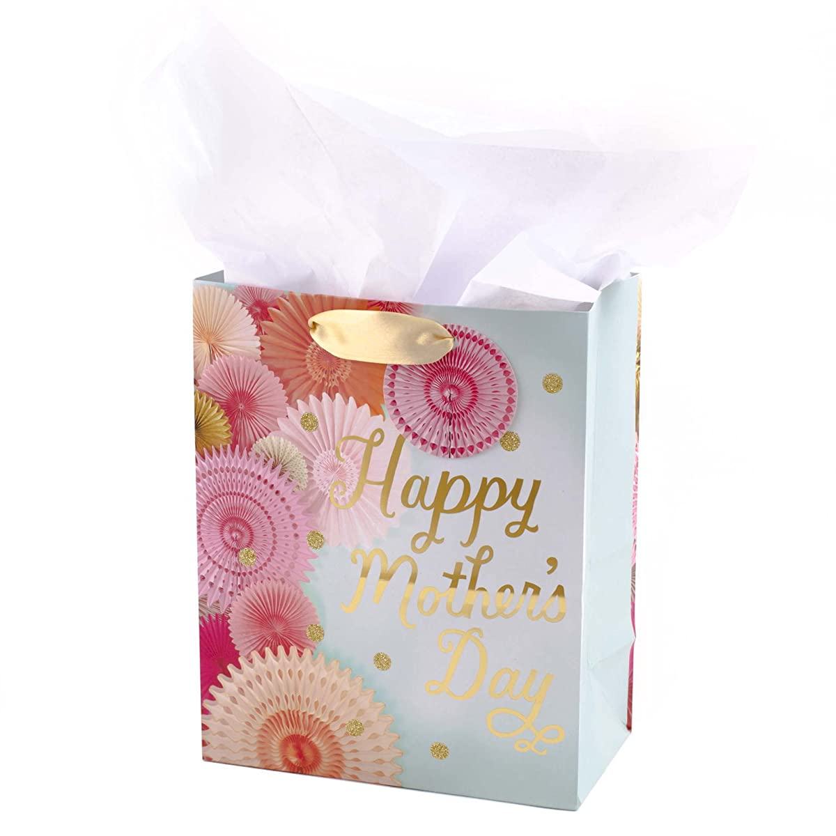 Hallmark Medium Mothers Day Gift Bag with Tissue Paper (Light Blue with Flowers)