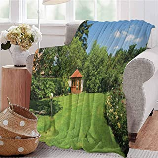 All Season Throw Blanket Peaceful Countryside Landscape with Blooming Roses Brick Path and a Small Gazebo Multicolor Dorm Bed Baby Cot Traveling Picnic W54 xL84