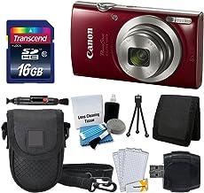 Canon PowerShot ELPH 180 Digital Camera (Red) + Transcend 16GB Memory Card + Camera Case + USB Card Reader + LCD Screen Protectors + Memory Card Wallet + Cleaning Pen + Ultimate Value Camera Bundle