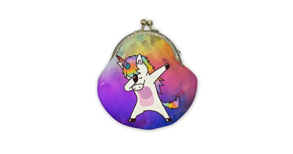 Rainbow Dabbing Unicorn Mouth Gold Bag Canvas Coin Purse Cash Bag Small Purse Wallets Mini Money Bag Change Pouch Key Holder Double Sides Printing