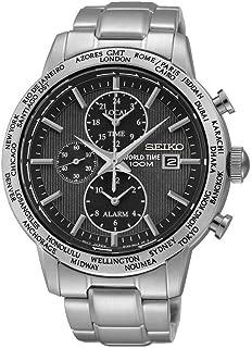 Seiko SPL049P1 Black Dial Stainless Steel World Time Alarm Men's Analog Watch