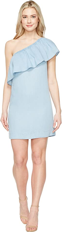 7 For All Mankind One Shoulder Ruffled Denim Dress
