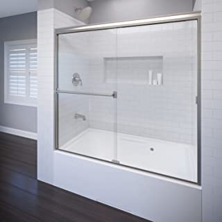 Basco Classic Tub Door A0043-60CLBN Classic sliding bathtub shower door, Brushed Nickel