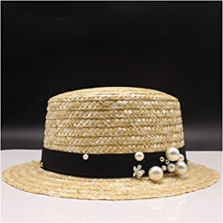 Summer Flat Sun Hats Straw Hat Panama Style Side with Bow Beach Bucket Cap Girl Topee 14 Adult Size 56-58cm