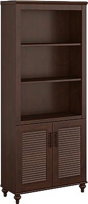 Bush Furniture kathy ireland Home Volcano Dusk Bookcase with Doors, Coastal Cherry