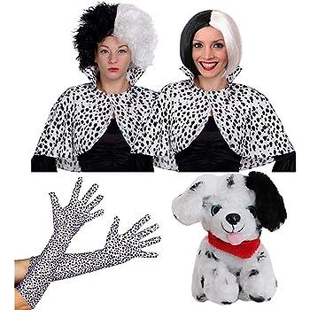 CHILDRENS EVIL DOG LADY CAPE FANCY DRESS COSTUME GIRLS DALMATIAN PRINT ACCESSORY
