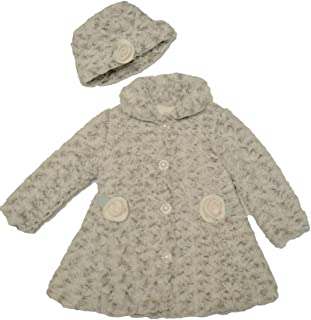 Mack and Co Baby Girl and Little Girls Oatmeal Fit and Flare Soft Coat and Hat