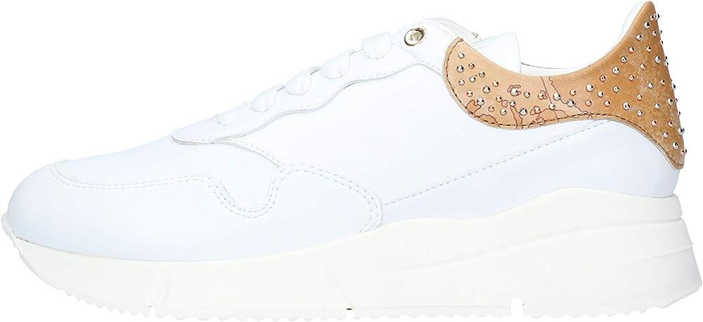 Alviero martini 1° classe, scarpe da donna casual, sneakers, in pelle colore bianco con dettagli sul tallone