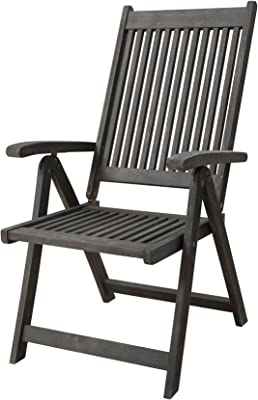 Vifah Renaissance Outdoor Patio Hand-Scraped Wood 5-Position Reclining Chair