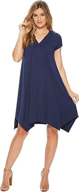 Cotton Modal Spandex Jersey Short Sleeve Pointed Hem T-Shirt Dress