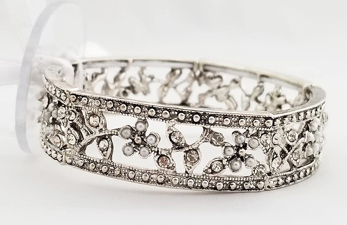 Floral Corsage Bracelet in Silver, Rosabella Collection