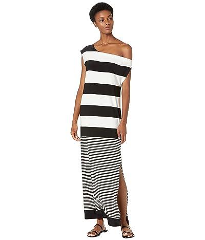 KAMALIKULTURE by Norma Kamali Spliced Drop Shoulder Midcalf Dress w/ Side Slit