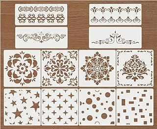 Premium Quality Reusable Stencils Set of 12 Laser Cut Painting Stencil Floor Wall Tile Fabric Wood Stencils (White)