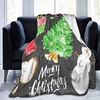 SLHFPX Fleece Plush Throw Blanket Comforter Watercolor Christmas Symbols Faux Fur Soft Cozy Warm Fluffy Lightweight Microfiber Fuzzy Blanket for Bed Couch Sofa Chair Fall Nap Travel Camp Picnic 60