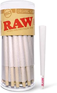 RAW Cones Organic King Size   50 Pack   Pure Hemp Pre Rolled Rolling Paper with Tips & Packing Sticks Included