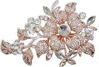 TTjewelry Elegant Austrian Crystal Flower Brooch Pin Romantic Wedding Bride Bridesmaid Rhinestone
