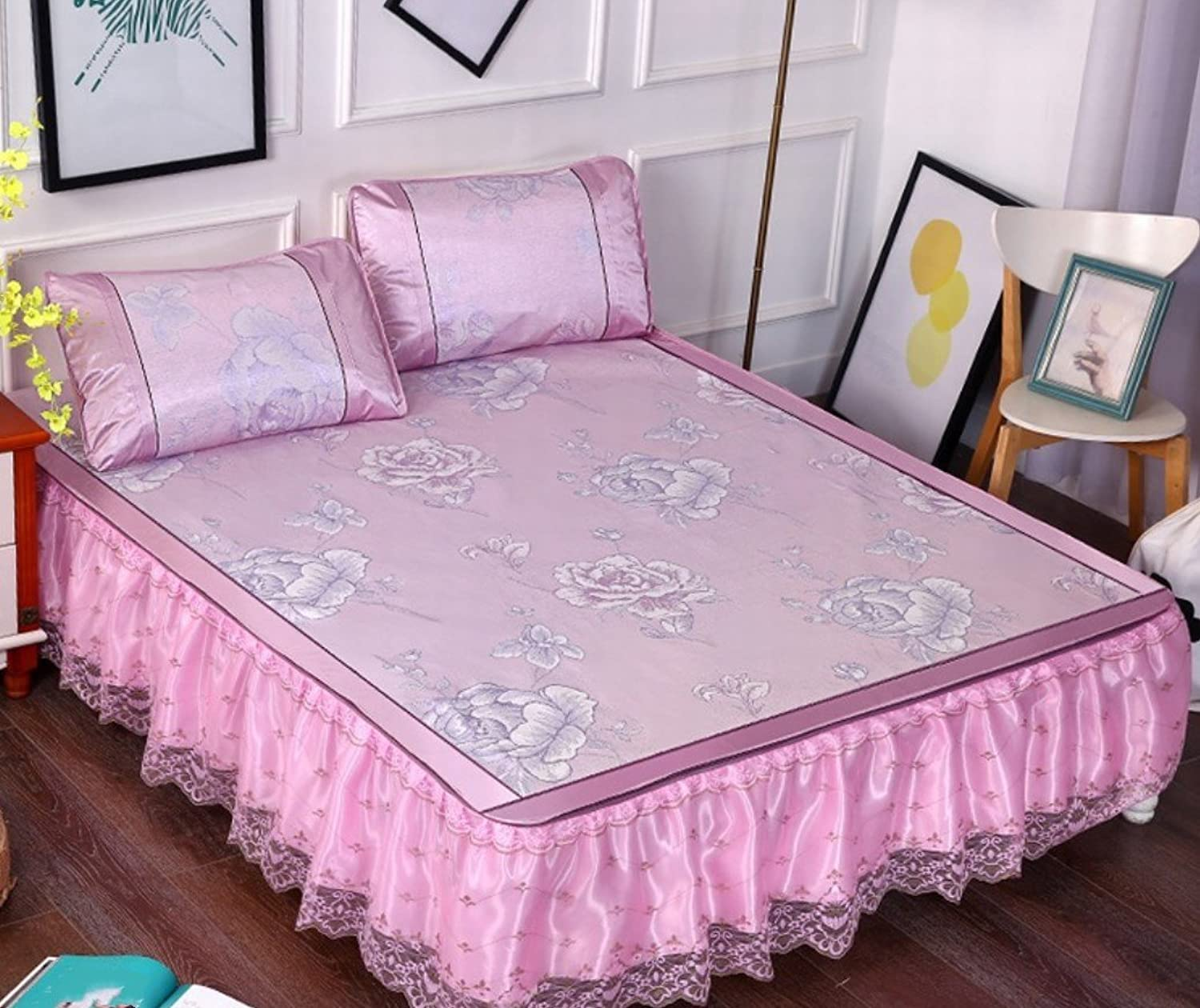 High-Grade Lace Bed Skirt Mat Three-Piece 1.8m Bed Removable Folding Summer Bed Mat 1.5 M-Sheet ZXCV (color   3, Size   150  200cm)