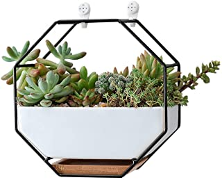 """VanEnjoy 7"""" White Ceramic Wall Planters Vase and Copper,Drainage Hole with Bamboo Tray - Succulent Pot Air Plants Mini Cactus Artificial Flowers Hanging Geometric Hexagon Wall Decor (Black Metal)"""