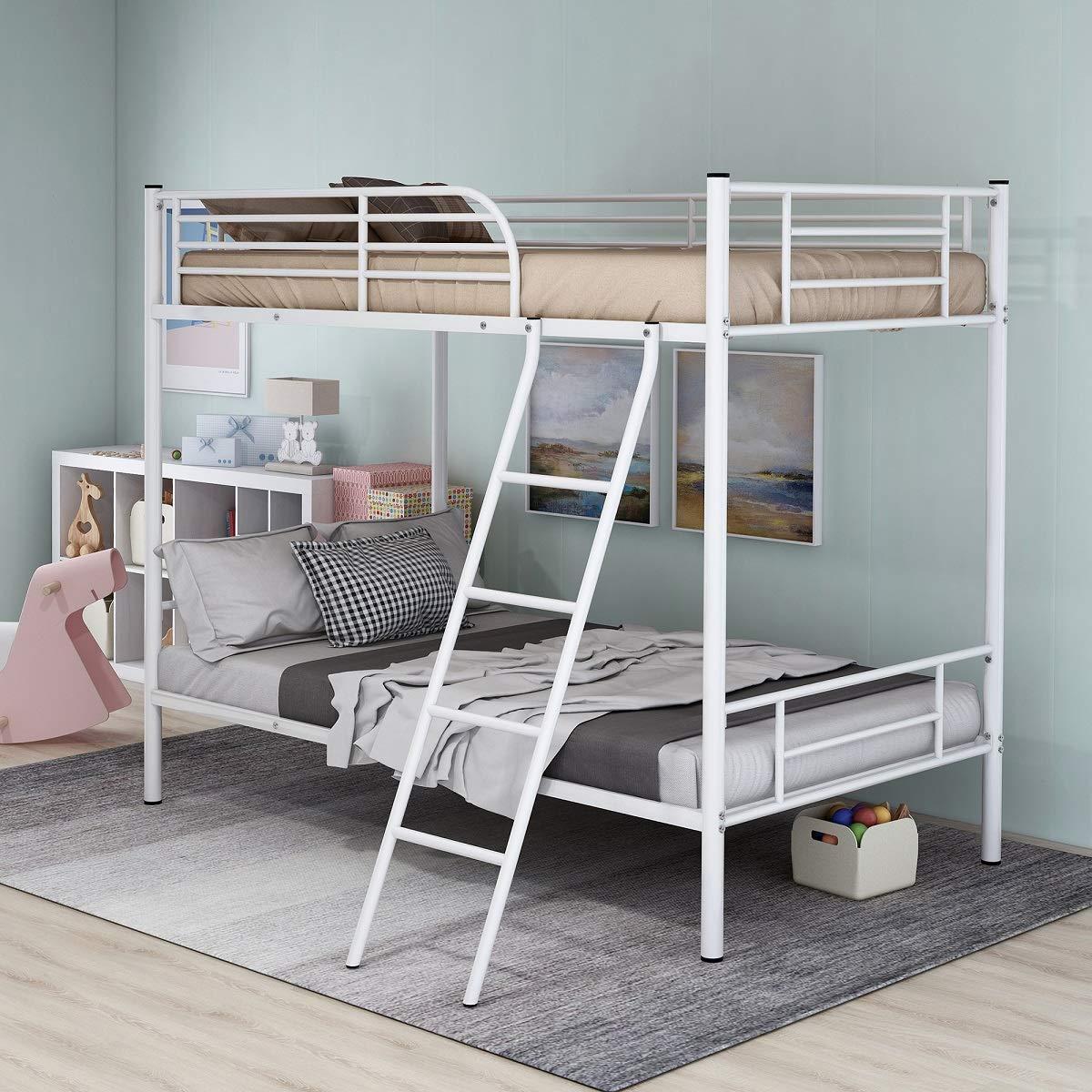 Rhomtree - Litera Doble de Metal con Escalera y barandilla, Ideal para Adultos y niños, Adolescentes: Amazon.es: Hogar