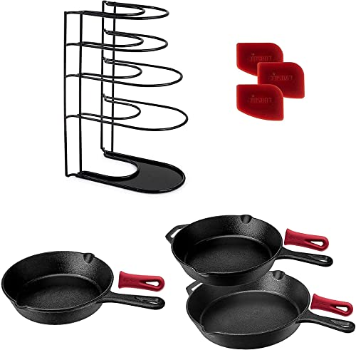 new arrival Heavy wholesale Duty Pan outlet online sale Organizer, Extra Large 5 Tier Rack + Pre-Seasoned Cast Iron Skillet 2-Piece Set (10-Inch and 12-Inch) + 8 inch Skillet + Pan Scraper tool outlet online sale