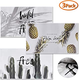 Set of 3 Heat Resistant Waterproof Kitchen Sheet Backsplash,Cactus,Paper Conifer,Pineapple Self-Adhesive Oil-Proof Stickers,DIY Tile Stickers, Decorative Removable Peel Off Decals for Kitchen Bathroom