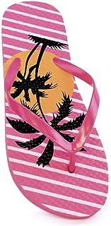 Womens/Ladies Palm Tree Sunset Print Summer Flip Flops