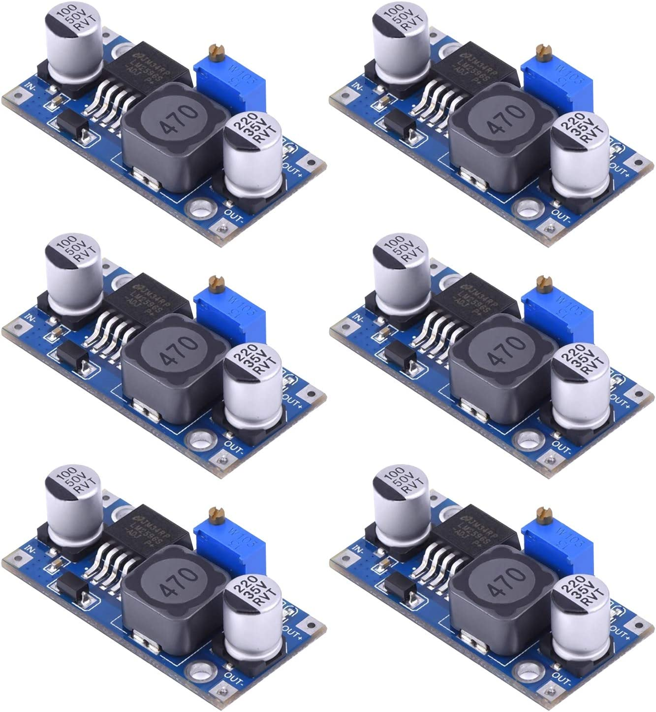 6 Pack DC DC Buck Converter LM2596S 3A Adjustable Power Supply Step Down Module