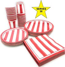 Serves 30 | Complete Party Pack | Red & White Stripes | 9