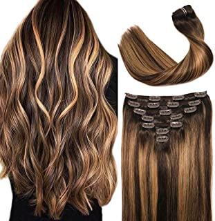VARIO HAIR Extensions Clip in Chocolate Brown to Caramel Blonde Remy Human Hair Extensions Clip in Real Hair Extensions Na...