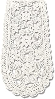 KEPSWET Cotton Floral Oval Handmade Crochet Lace Table Runner Beige (12x60 inch)