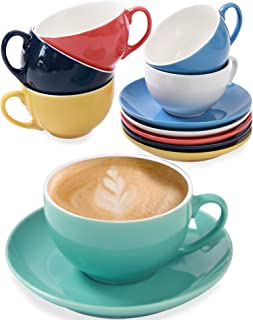 6 Tasses à Cappuccino avec Soucoupes - Céramique Colorée - 180ml - Avec Boîte Cadeau - Maintient le Cafe Chaud