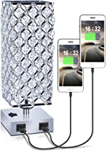USB Crystal Table Lamp with 2 USB Port, Dicoool Square Beside Table Lamp with Crystal Shade, Dual USB Nightstand Lamp, Suitable for Bedroom, Living Room, Kitchen