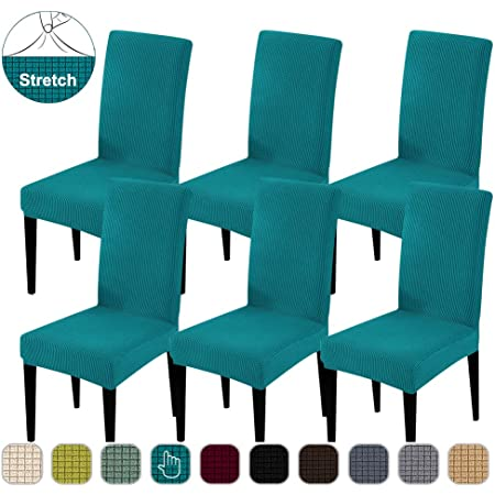 Deisy Dee Stretch Solid Color Chair Covers Removable Washable for Hotel Dining Room Ceremony Chair Slipcovers Pack of 6 C093 brown