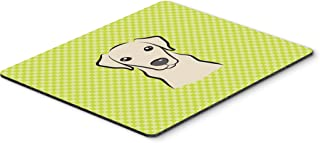 Caroline's Treasures BB1284MP Checkerboard Lime Green Yellow Labrador Mouse Pad, Hot Pad or Trivet, Large, Multicolor