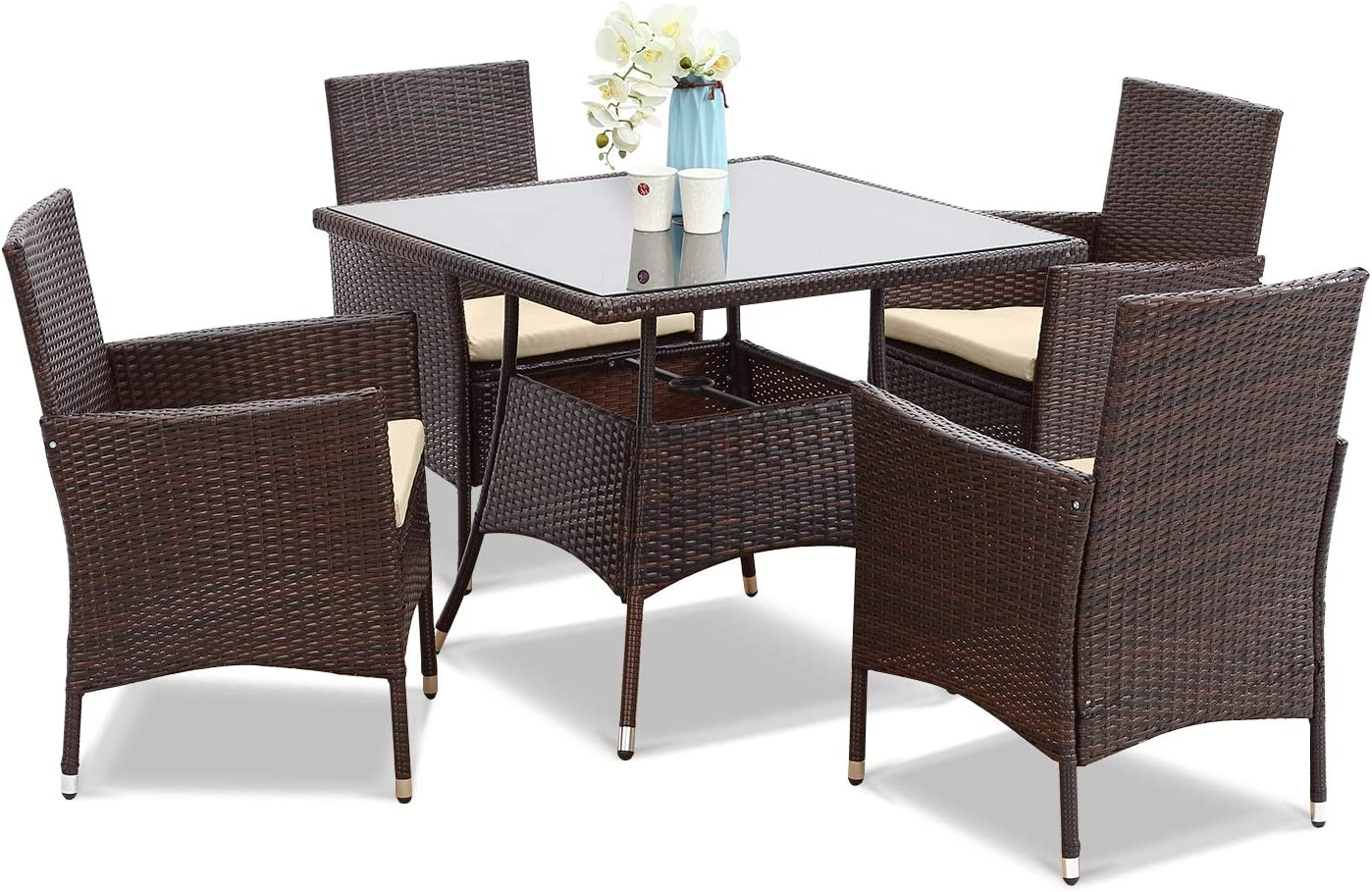 Wisteria Lane Outdoor Furniture 9 Piece Wicker Patio Dining Table and Chair  Set,Square Tempered Glass Table Top with Umbrella Hole for Backyard,Brown