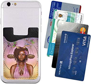 Afro Astrology Sexy Lady Flower Christmas Antlers PU Leather Business Id Card Package RFID Credit Card Holder Clip Sleeve Wal