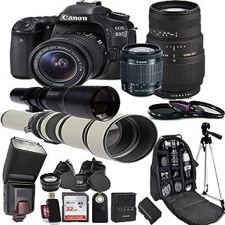 Canon EOS 80D Digital SLR Camera Kit with 18-55mm STM + Sigma 70-300mm Zoom Lens + 500mm Preset Lens+ 650-1300mm Super telephoto Lens Accessory Bundle (25 Items)