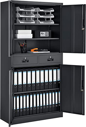 Juskys Aktenschrank Office 180 x 90 cm – Metallschrank abschließbar mit 4 Türen, 2 Schubladen & Zylinder-Schloss & – Büroschrank in Anthrazit