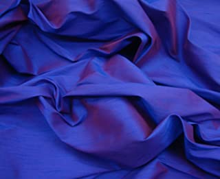 "LUVFABRICS 58"" Wide Purple Two Tone Shantung Dupioni Faux Silk Fabric Per Yard"
