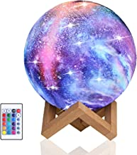 Night Light for Kids Moon Lamp 16 Colors LED 15cm 3D Print Star Moon Light with Stand, Touch & Remote Control & USB Rechar...
