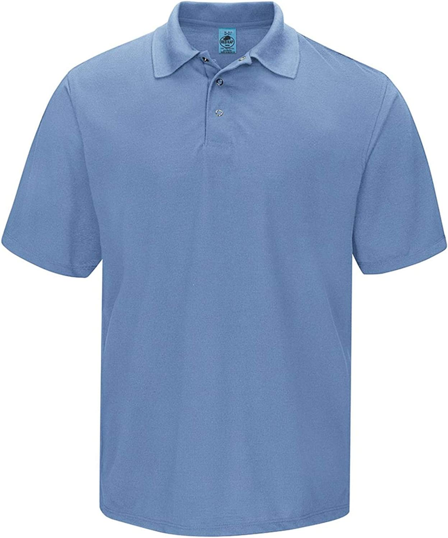 Red Kap Men's Short Sleeve, Gripper-Front Polo, Medium Blue, 5X-Large