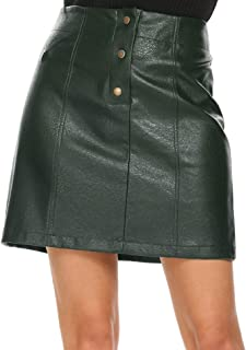 Mofavor Women's Leather Skirts High Waist Button Front A Line Short Mini Skirt