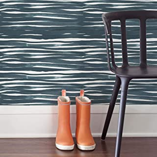 Peel and Stick Wallpaper - Blue Painted Stripes. Removable Peel and Stick Vinyl Wallpaper - Each Roll is 18 ft. Long x 18 in. Wide. by Flipside