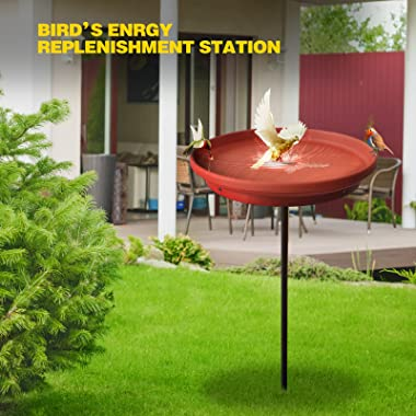 BIRD WISH Bird Bath, 31.5 Inch Lightweight Detachable Durable Outdoor Bird Bath with Sturdy Metal Stakes Suitable for Outdoor